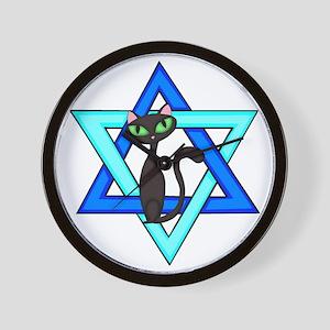 Jewish Cat Stars Wall Clock