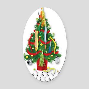 ChristmasTree_Sea Oval Car Magnet