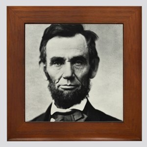 abe lincoln puzzle Framed Tile