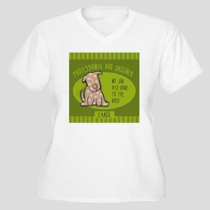 GROOMERcarol Women's Plus Size V-Neck T-Shirt