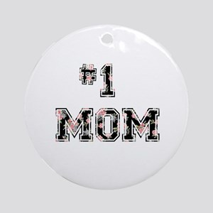 #1 Mom floral Ornament (Round)
