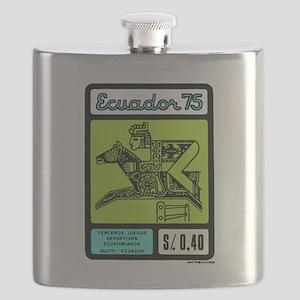 1975 Ecuador Inca Steeplechase Postage Stamp Flask