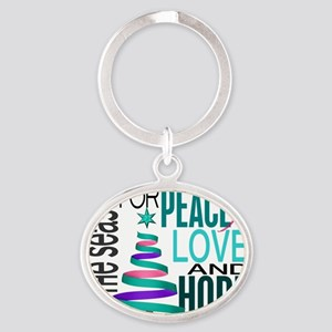 D Thyroid Cancer Oval Keychain