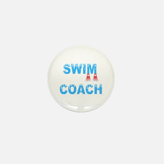Swim Coach Blue Mini Button