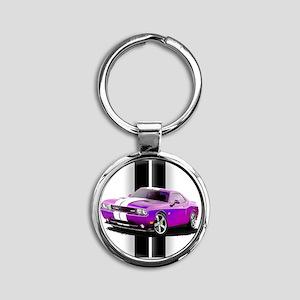 challengerpurple Round Keychain