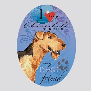airedale-kindle Oval Ornament
