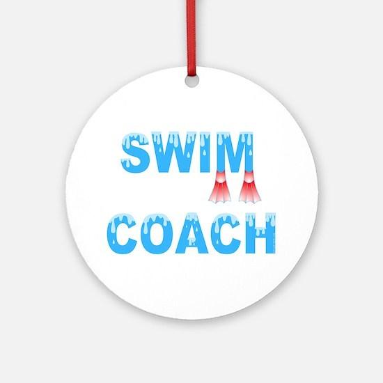 Swim Coach Blue Ornament (Round)
