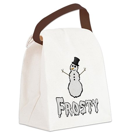 Frosty the Snowman Text Canvas Lunch Bag
