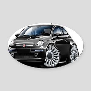 Fiat 500 Black Car Oval Car Magnet