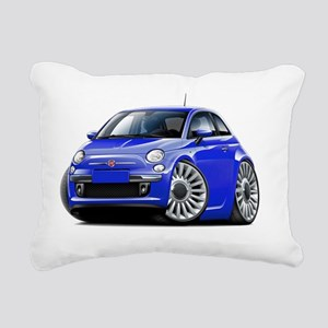 Fiat 500 Blue Car Rectangular Canvas Pillow