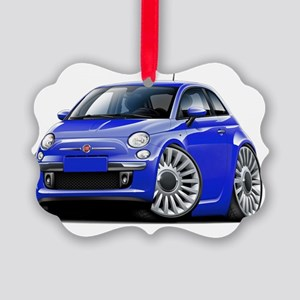 Fiat 500 Blue Car Picture Ornament