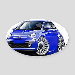 Fiat 500 Blue Car Oval Car Magnet