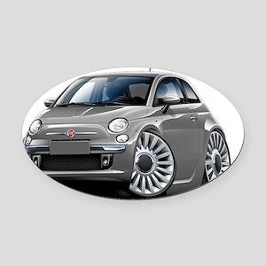 Fiat 500 Grey Car Oval Car Magnet