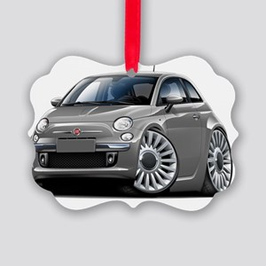 Fiat 500 Grey Car Picture Ornament