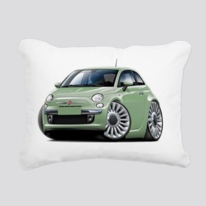 Fiat 500 Lt Green Car Rectangular Canvas Pillow