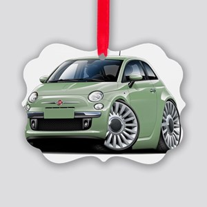 Fiat 500 Lt Green Car Picture Ornament