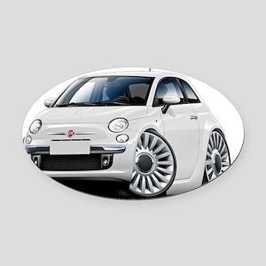 Fiat 500 White Car Oval Car Magnet