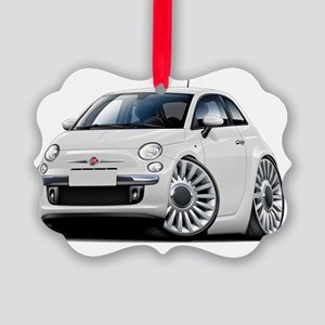 Fiat 500 White Car Picture Ornament