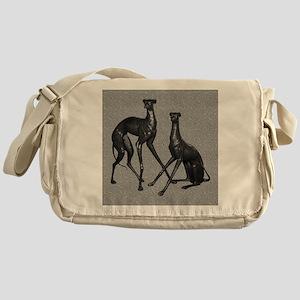 PillowWhippetSilverSilhouette Messenger Bag
