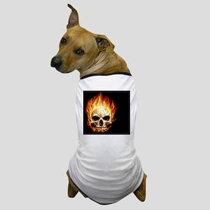 Flaming Skull Dog T-Shirt