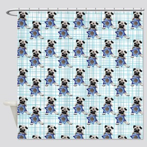 Pug with Star of David Shower Curtain
