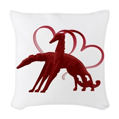 Borzoi Holiday Love Woven Throw Pillow