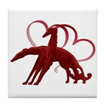 Borzoi Holiday Love Tile Coaster