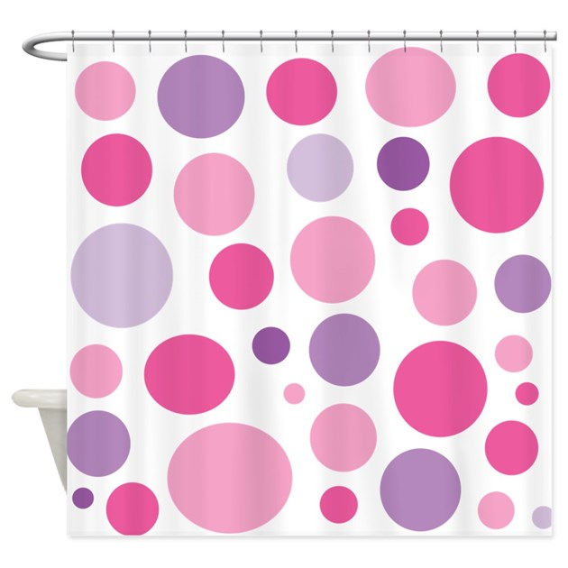 Pink and Purple Dots Shower Curtain by MegaShark
