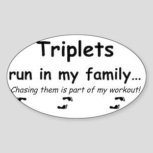 triplet run Sticker (Oval)
