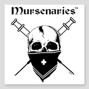 """MursenariesBlackonWhiteP Square Car Magnet 3"""" x 3"""""""