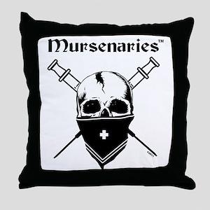 MursenariesBlackonWhiteforCP Throw Pillow