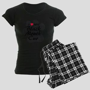 I Love My Black Mouth Cur Women's Dark Pajamas