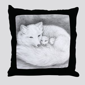 Hor-sign-Arctic Fox Family  Throw Pillow