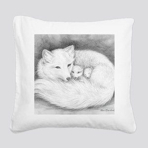 Hor-sign-Arctic Fox Family  Square Canvas Pillow