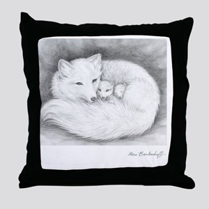 Square-sign-Arctic Fox Family  Throw Pillow