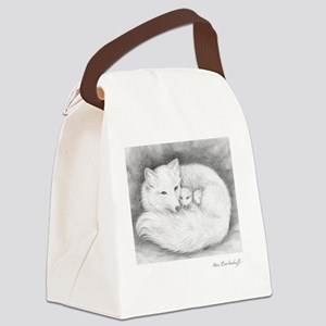 Square-sign-Arctic Fox Family  Canvas Lunch Bag
