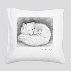 Square-sign-Arctic Fox Family Square Canvas Pillow
