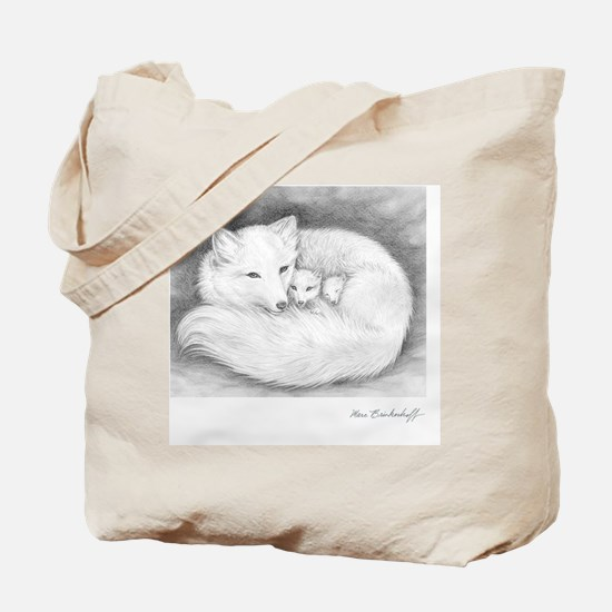 Square-sign-Arctic Fox Family  Tote Bag