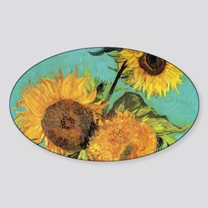 Coin VG 3 Sunflowers Sticker (Oval)