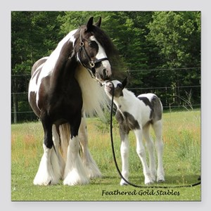 """Dated with foal final Square Car Magnet 3"""" x 3"""""""
