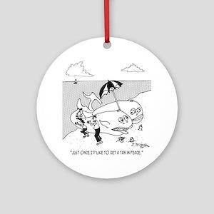 3139_whale_cartoon_JM Round Ornament