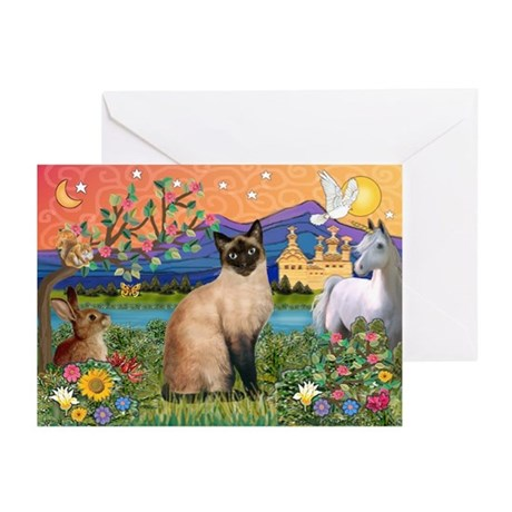 Siamese (1) in Fantasy Land Greeting Cards (Pk of