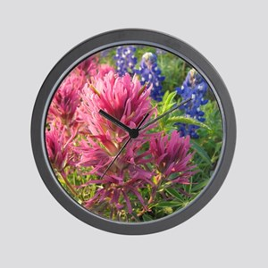 texas bluebonnets and pinks Wall Clock
