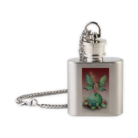 little christmas fairy card Flask Necklace