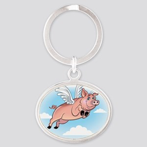 flying_pig_fly Oval Keychain