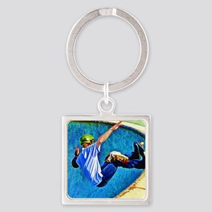 Skateboarding in the Bowl copy Square Keychain