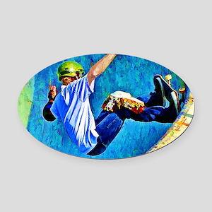 Skateboarding in the Bowl copy Oval Car Magnet