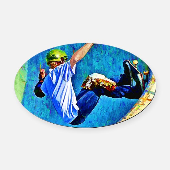 Skateboarding in the Bowl copy Oval Car Magnet