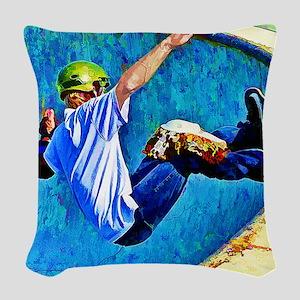 Skateboarding in the Bowl copy Woven Throw Pillow