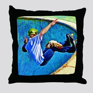 Skateboarding in the Bowl copy Throw Pillow